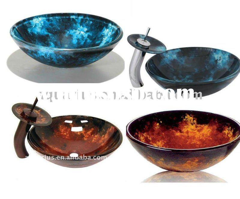 Hand Paint Glass Wash Basin Bathroom With Faucet