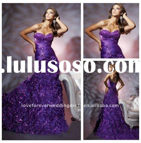 High Quality Purple Organza Prom Evening Dresses 2012