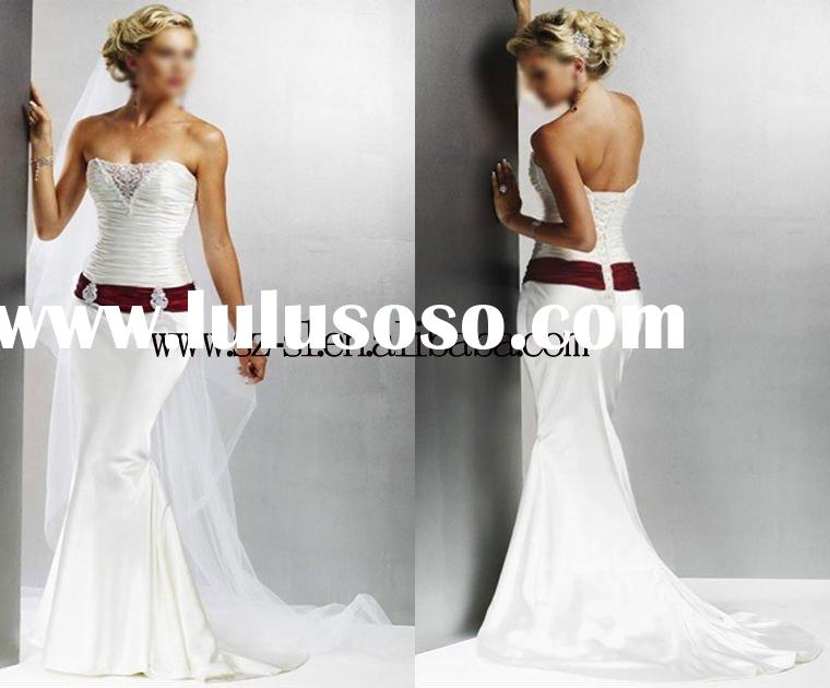 High quality backless empire waist beaded red sash mermaid wedding dress434