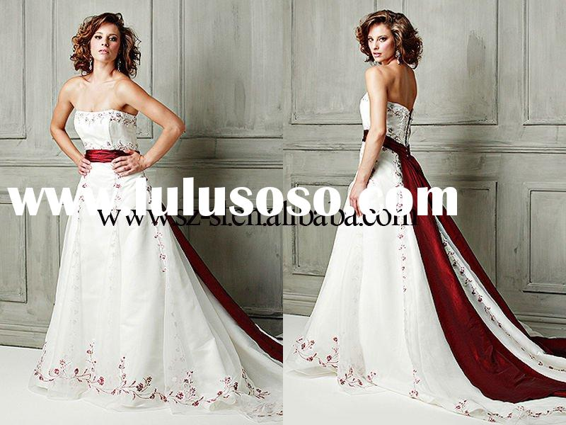 High quality strapless appliqued red sash wedding dress411