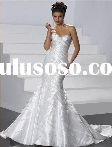 Hot sale custom made slim taffeta trumpet beaded wedding dress AN-WD-1118