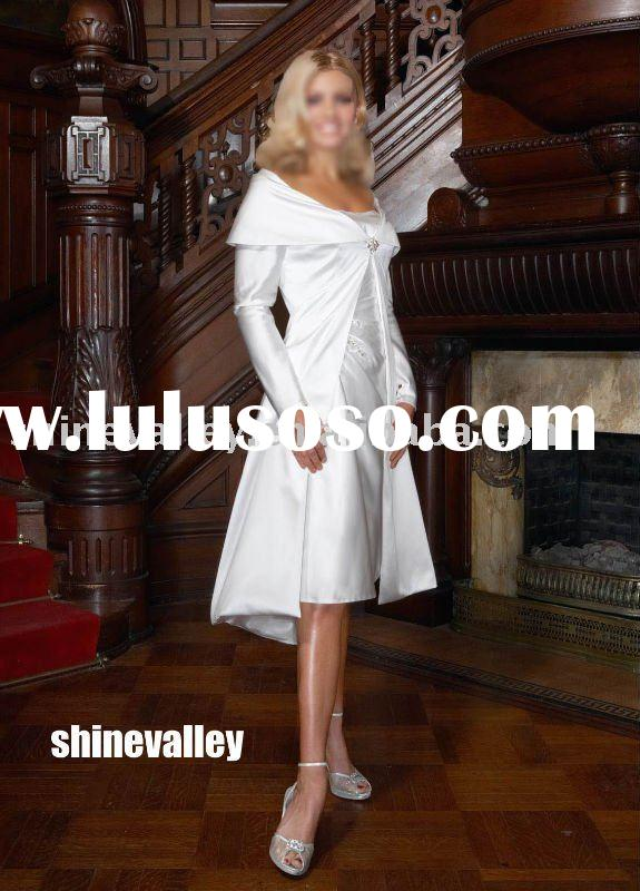 IM091 Long Sleeve Tea Length Satin Wedding Dress