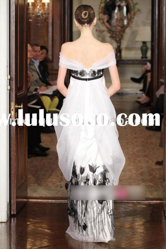 JW033 Free shipping off-shoulder flower printed with bow sash wedding dress