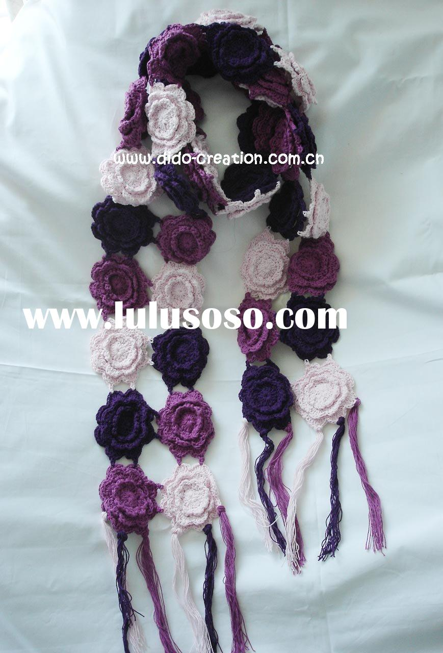 KT06008A Handmade Crochet knitted Fashion Flower Scarf 100% Cotton