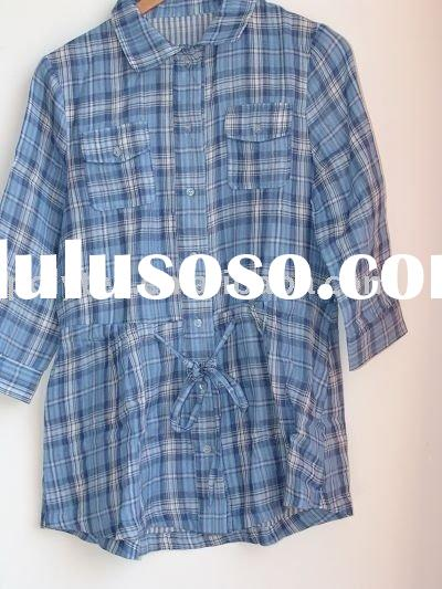 Lady's Gingham Blouse/Yarn Dyed Clothing/Women's Leisure Check Skirt