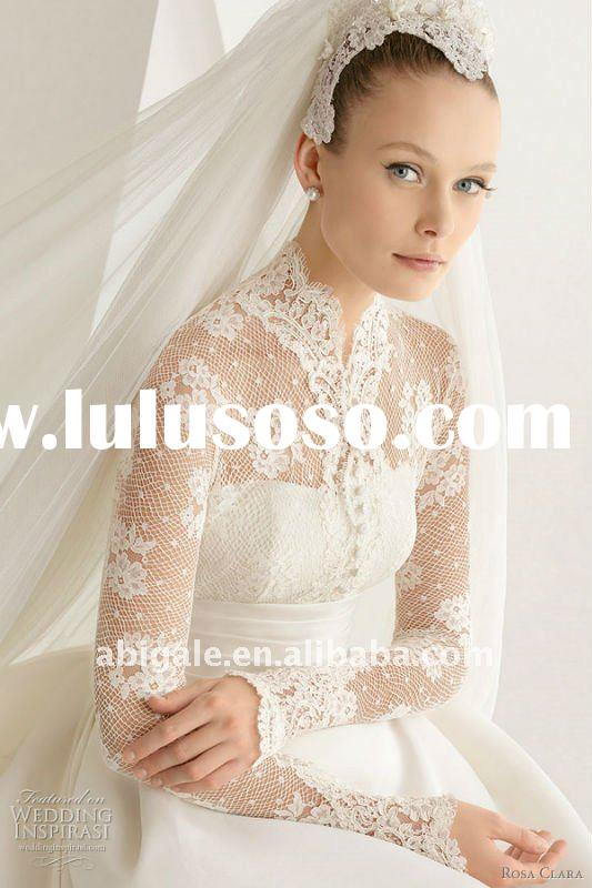 Long sleeve High neck A-line Sweep train Taffeta Fashion Bridal Gown(NS11363)