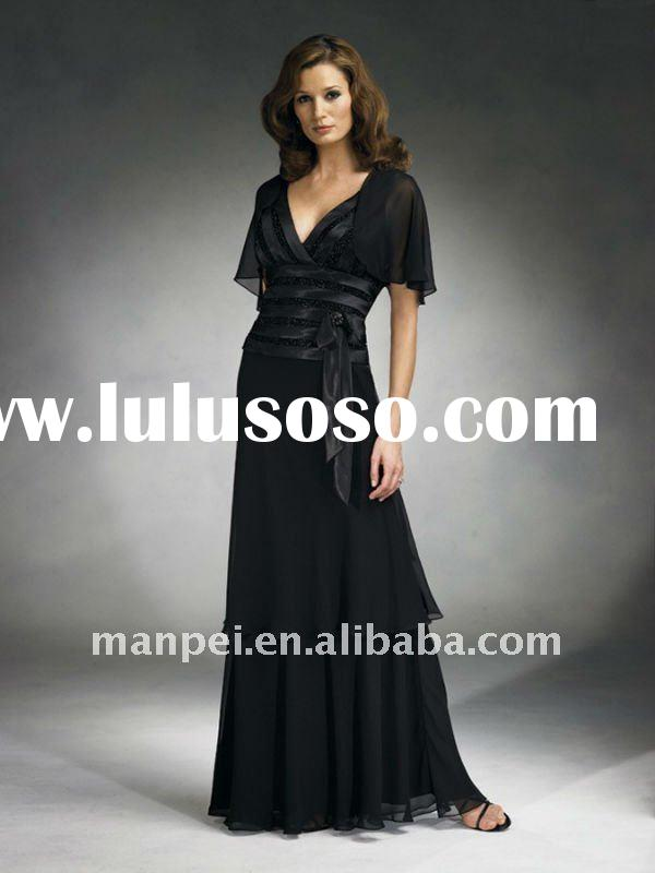 MP-268 Unique Design V Neck Short Sleeves Beaded Sash Straight Chiffon Elegant Special Occasion Hot