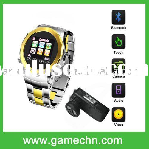 """MQ999 Quad Band unlocked 1.5""""Touch Screen Stainless Steel Wrist Watch Cell Phone with camera FM"""