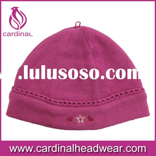 Machine knitted baby hat with flat emb,soft hand feel,keep warm