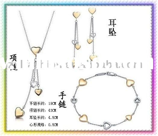 Mix & Match: 925 Sterling Silver Gold Hearts Jewelry Sets GZ057