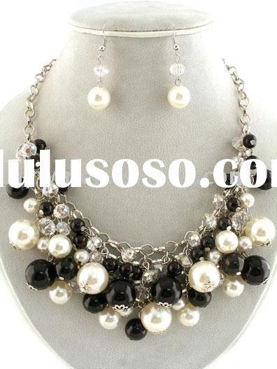 Mixed Pearl/Acrylic Beads Chains Fashion Jewelry Necklace set