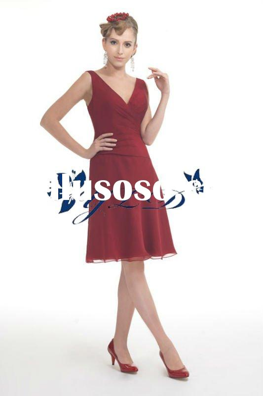 Modern wine red chiffon V-neckline knee-length bridesmaid dress