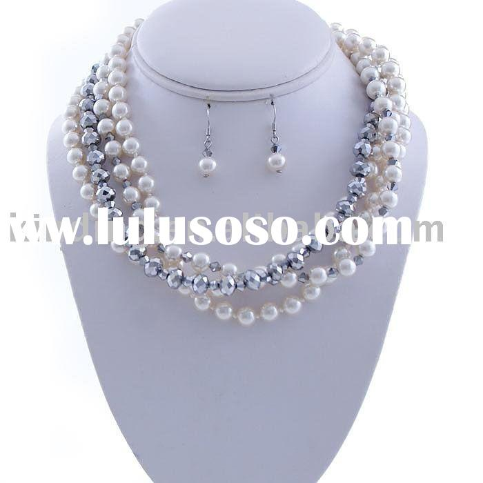 Multiple Strand Pearl with Crystal Necklace Earring Set-Cream/Silver JNK2580