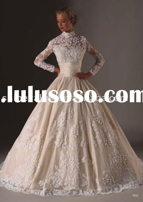 NL025 Brand New Long Sleeve High Neck Lace Embellishment Taffeta Wedding Dresses