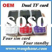 New E71 Four sim card four standby cell phone with TV Dual TF card
