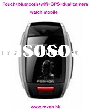 New fashion touch screen watch mobile phone bluetooth+wifi+gps+2camera