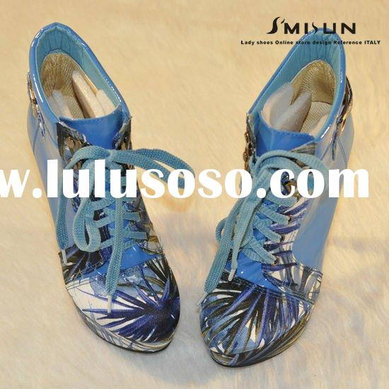 New patent leather denim buckle lace high heel lady shoe