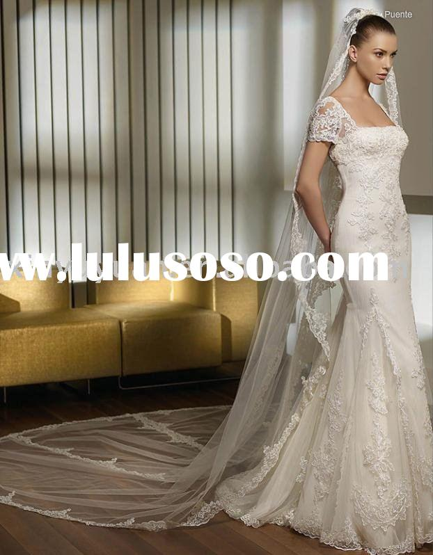 New style cap sleeve square neckline backless high quality wedding dress/bridal gown/wedding gown SP