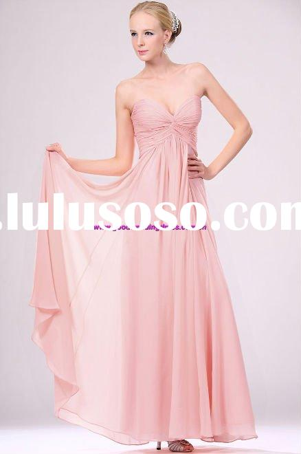 New style chiffion strapless ruffle pink prom dresses 2011