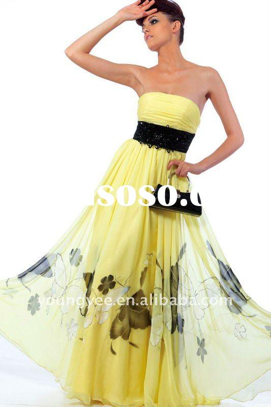 New style high quality straight neckline print skirt yellow girls party dresses with sash(PR10030)