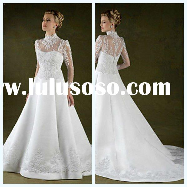 Off 30% 2012 Wholesale Lace Appliqued Ruffer Satin Long Sleeve High Neck Wedding Dress with Court Tr