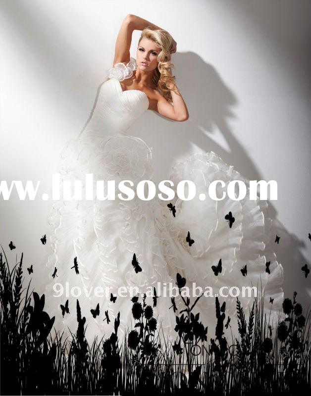 One-shoulder organza and taffeta ball gown T211275 wedding dress