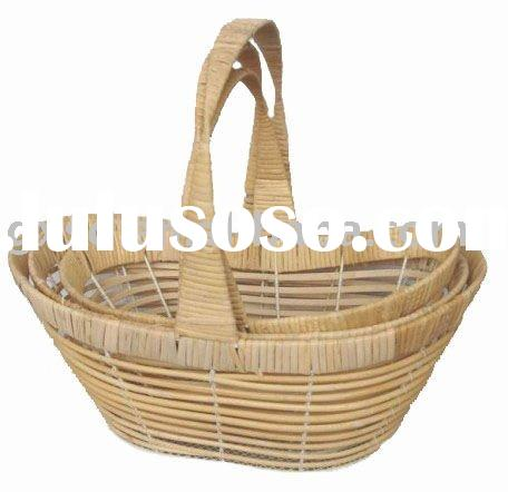 Oval shape eco-friendly handmade fruit storage rattan basket set with handle