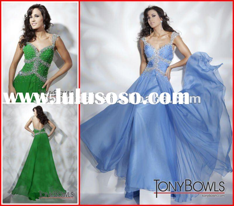 PYN2185 New Ruffles Green Off-Shoulder Beaded Chiffon Prom Dresses Backless Color Evening Dress 2012