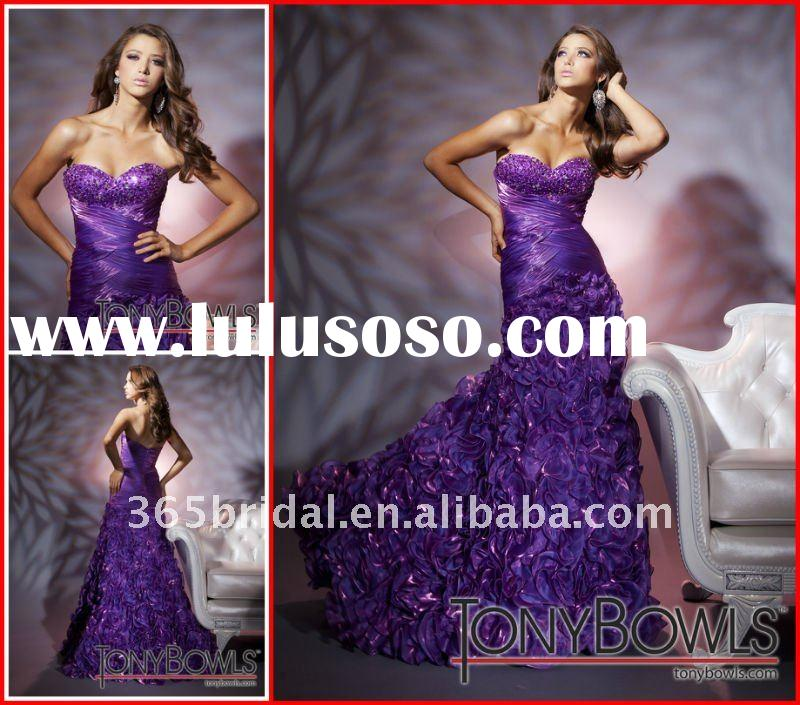 Pleated Mermaid/Trumpet Sweetheart Beaded Taffeta prom dress 2012