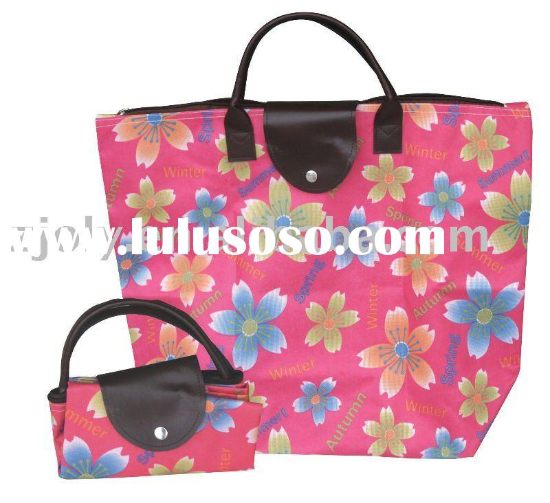 Polyester Foldable Shopping Tote Bag Handle Bag