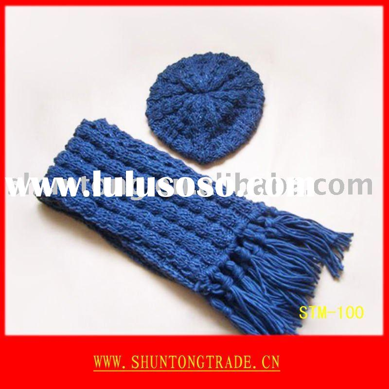 Promotion knitted winter hat sets/hat,scarf,gloves