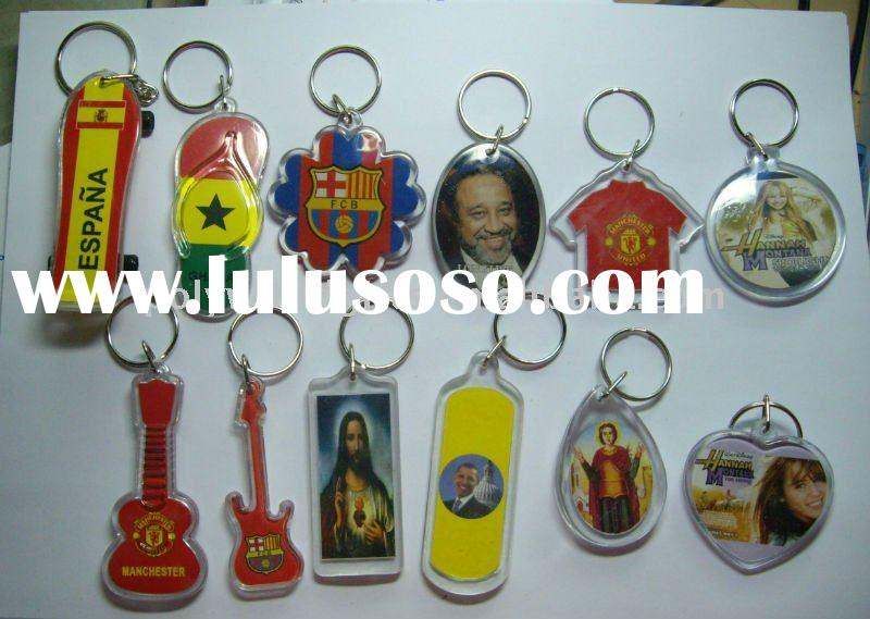 Promotional Gift Personalized Photo 12 designs Plastic photo insert keychain