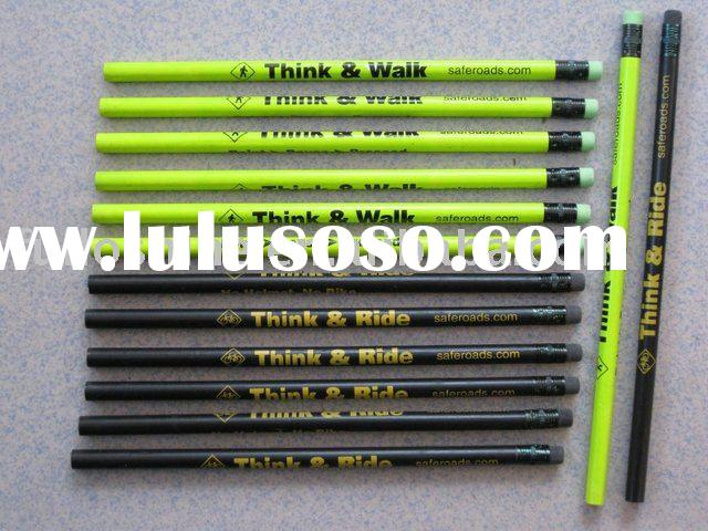 Promotional pencil-Printed wooden hb pencil with eraser on top