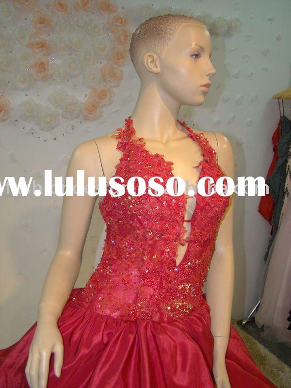 REAL158 2011 high quality halter satin lace appliques red wedding dresses