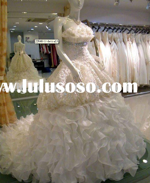 Real Dress Photos High Quality Ball Gown Strapless Organza Beaded Wedding Dress 2011(JY99003)