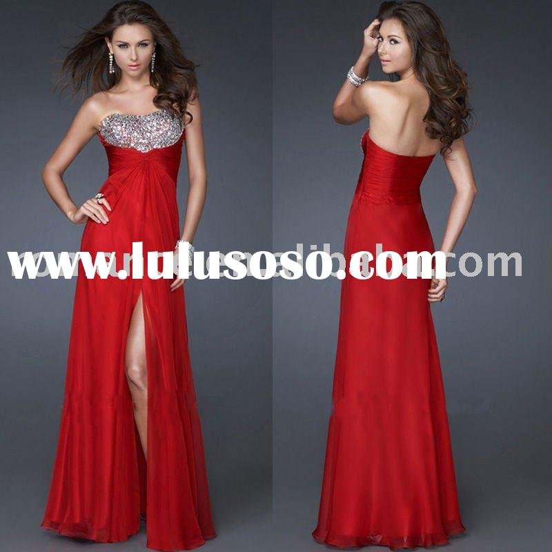 Red Chiffon Strapless Crystals Prom Dress