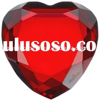 Red Optical Crystal Heart Diamond Paperweight Wedding Favors