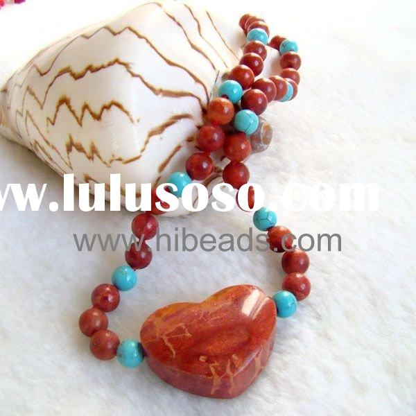 Round red coral necklace heart shape pendant Coral-jewelry-0066-015