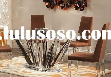 Round shaped Clear Acrylic Dining set,table and chair