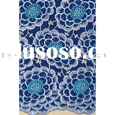 Royal blue swiss voile lace