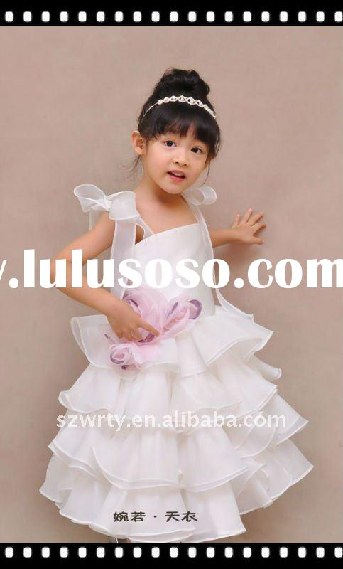 Ruffle flower girl dress 395 satin handmade flower T-T002
