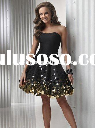 Satin Short Strapless Sweetheart Neckline black 2011 Cheap Prom Dress with sequins around skirt wlf5