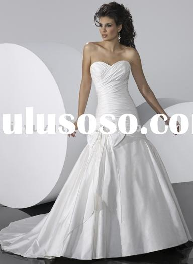 Simple style sweetheart neckline wedding dresses, bridal gown with bow sash , wholesale popular wedd
