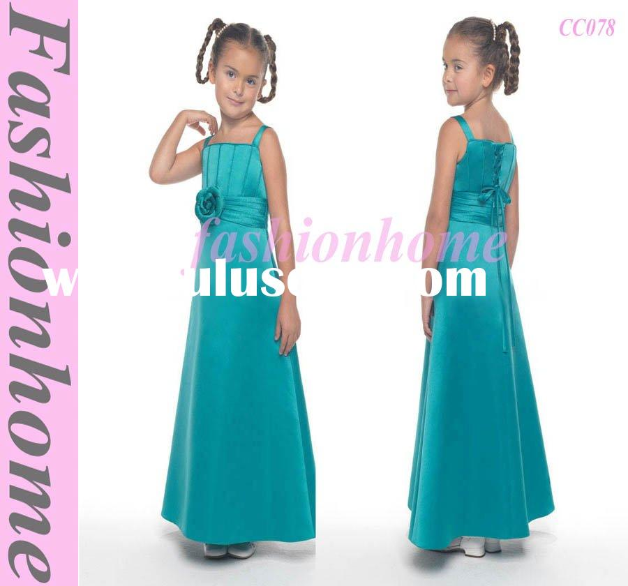 Spaghetti Strap Satin Flower Girl Dress CC078