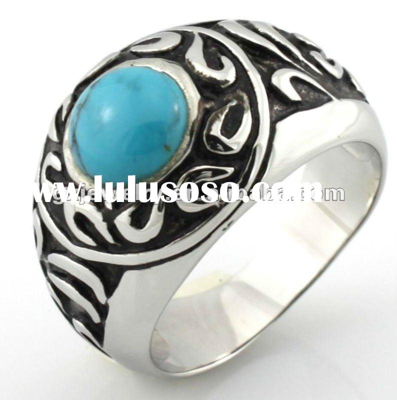 Stainless steel turquoise military ring,sterling silver military ring jewelry