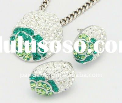 Sterling Silver Austria Crystal Jewelry Set, Pendants and Ear Studs, 205_Emerald(SJEW-H003-1)