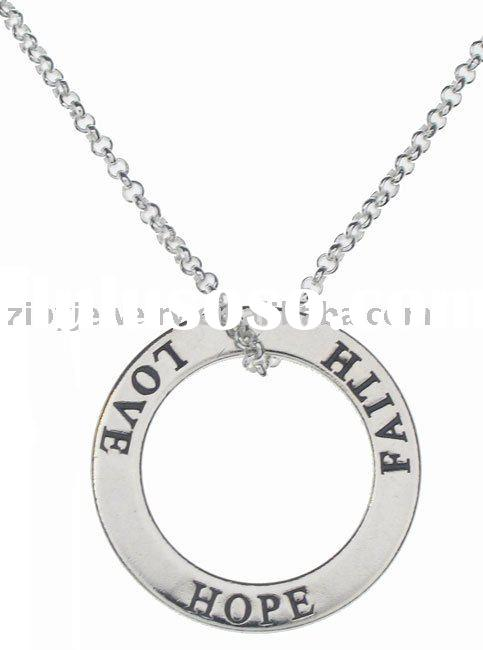 Sterling Silver Faith Hope Love Circle Necklace