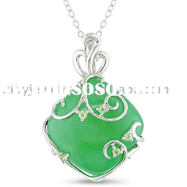 Sterling Silver Green Jade and Peridot Necklace