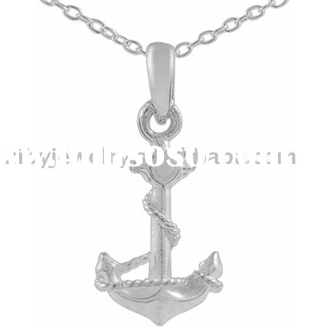 Sterling Silver Plain Anchor Charm Necklace