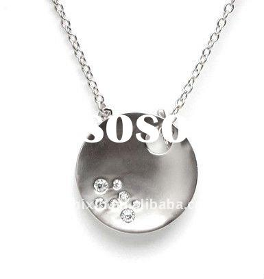Sterling Silver Round Plain Pendant Without Chain